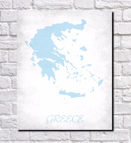 Greek Map Print Outline Wall Map of Greece