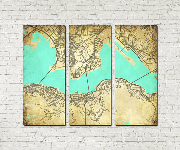 Hong Kong City Street Map 3 Panel Canvas Wall Art 7005C3