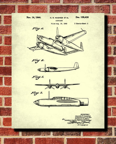 Hughes Aircraft Blueprint Flying Patent Print Airplane Aeroplane Poster - OnTrendAndFab