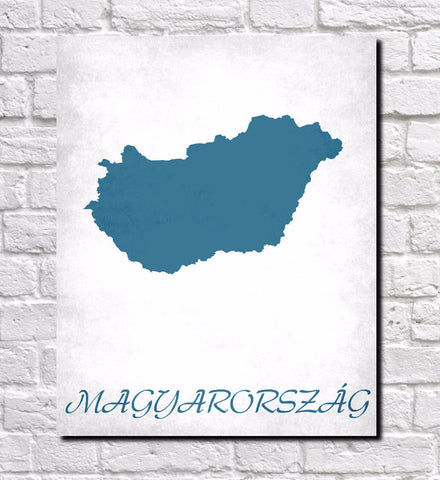 Hungarian Map Print Outline Wall Map of Hungary