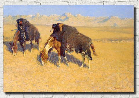 Frederic Remington, Fine Art Print : Indians Simulating Buffalo