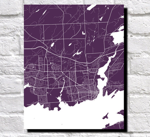 Kingston Ontario City Street Map Print Feature Wall Art Poster
