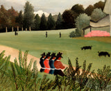 Henri Rousseau, Post- Impressionist Fine Art Print, Landscape and 4 Young Girls