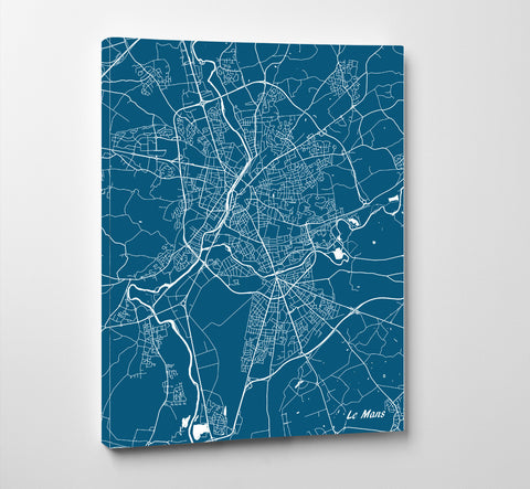 Le Mans City Street Map Print Feature Wall Art Poster