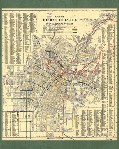 ac0e27ee5a9f3 Los Angeles Rail and Street Map Print Vintage Poster Old Map as Art