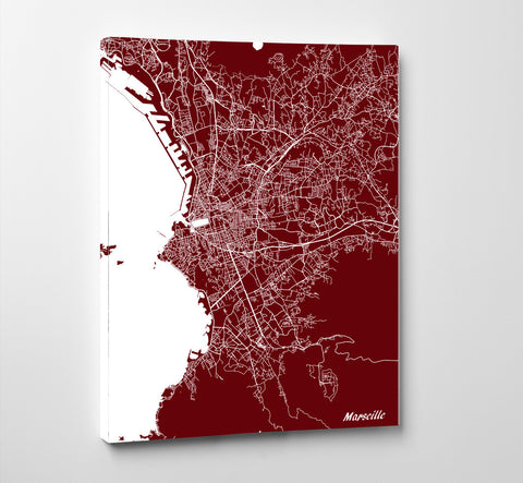 Marseille City Street Map Print Feature Wall Art Poster