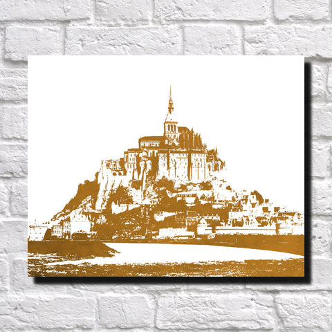 Mont Saint Michel Vintage Print City Landscape Poster Feature Wall Art