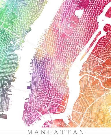 manhattan new york city street map print modern art poster