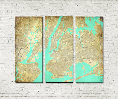 New York City Street Map 3 Panel Canvas Wall Art 7103C3