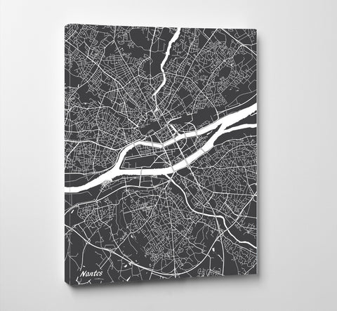 Nantes City Street Map Print Feature Wall Art Poster