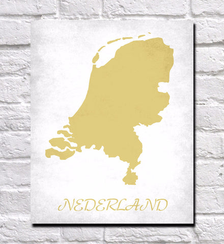 Dutch Map Print Outline Wall Map of Netherlands