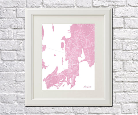Newport City Street Map Print Feature Wall Art Poster
