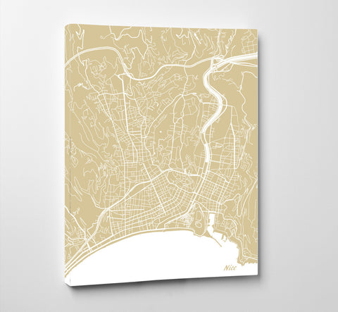 Nice City Street Map Print Feature Wall Art Poster