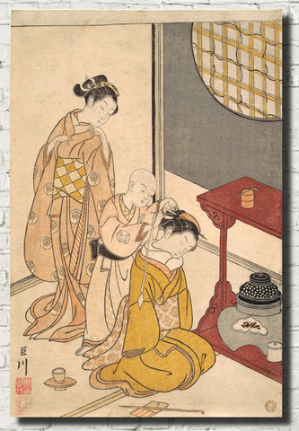 Suzuki Harunobu, Japanese Art Print : Night Rain on the Daisu