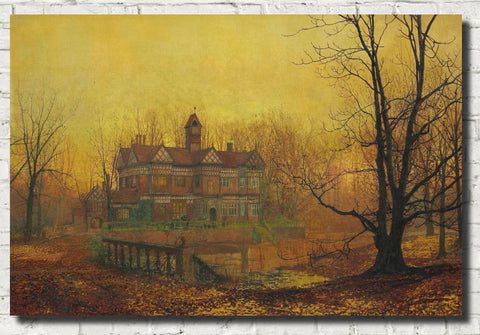 John Atkinson Grimshaw Fine Art Print: Old Hall, Cheshire, early morning, October
