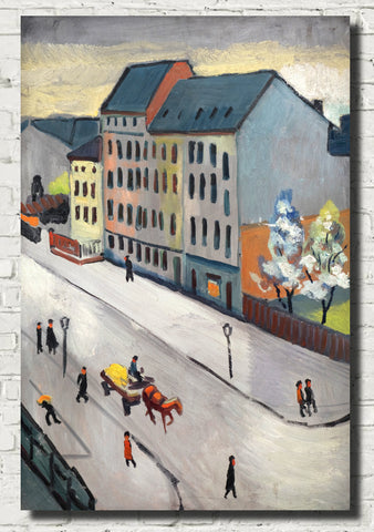 August Macke Abstract Fine Art Print, Our Street in Grau