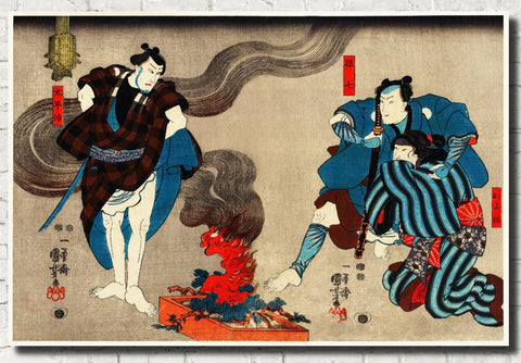 Warriors Campfire, Japanese Fine Art Print, Utagawa Kuniyoshi - GalleryThane.com