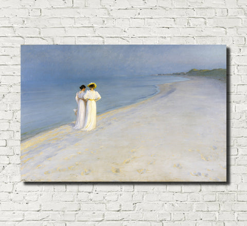 Summer Evening on Skagen's Beach, PS Krøyer Fine Art Print