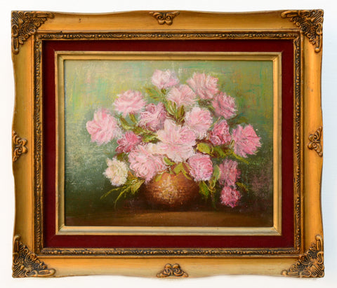 Pink Roses Still Life Floral Vintage Oil Painting Gold Framed