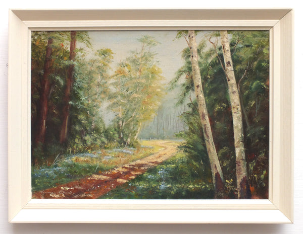 Woodland Lane Forest Landscape Oil Painting Framed Signed