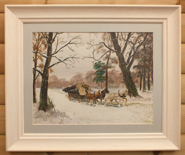 Winter Forest Landscape Oil Painting Horse Logging Framed Signed Original