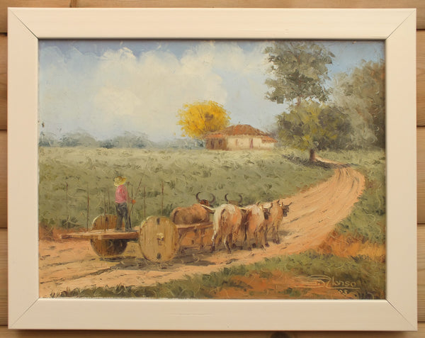 Brazilian Farming Landscape, Ranch in Brasileira, Piauí Original Framed, Signed Oil painting