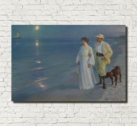 Evening Walk Summer Beach, PS Krøyer Fine Art Print