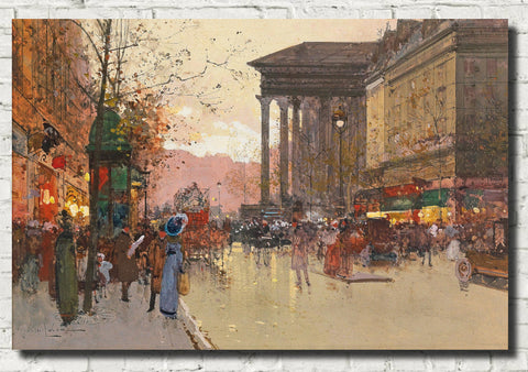 Eugène Galien-Laloue Fine Art Print : Paris, The Boulevard de la Madeleine in the evening