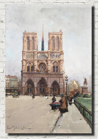 Eugène Galien-Laloue Fine Art Print : Paris, The Flower Lady at Notre-Dame