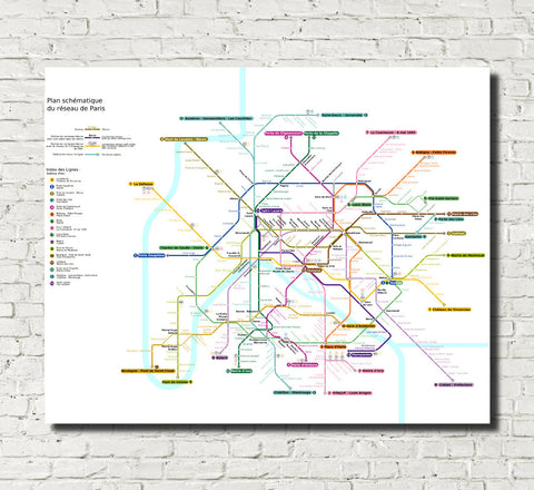 Paris Metro Map Print Underground Rail Plan
