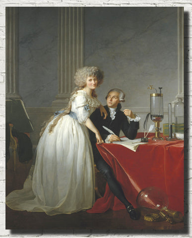 Jacques-Louis David Fine Art Print : Portrait of Monsieur de Lavoisier and his Wife, chemist Marie-Anne Pierrette Paulze