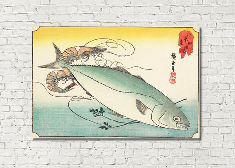 Fish Print Prawn Yellowtail Andō Hiroshige, Japanese Art