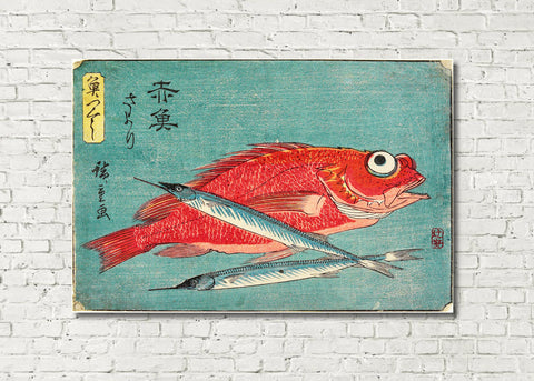 Fish Print Red Snapper Halfbeak Andō Hiroshige, Japanese Art