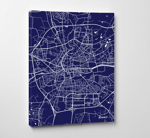 Rennes City Street Map Print Feature Wall Art Poster