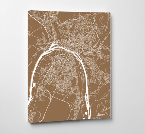 Rouen City Street Map Print Feature Wall Art Poster