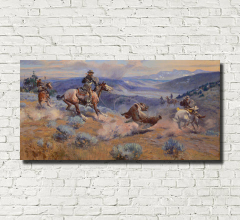 Charles Marion Russell, Fine Art Print : Loops and Swift Horses are Surer than Lead