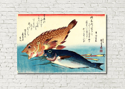 Fish Print Red Scorpion Fish Isaki Andō Hiroshige, Japanese Art
