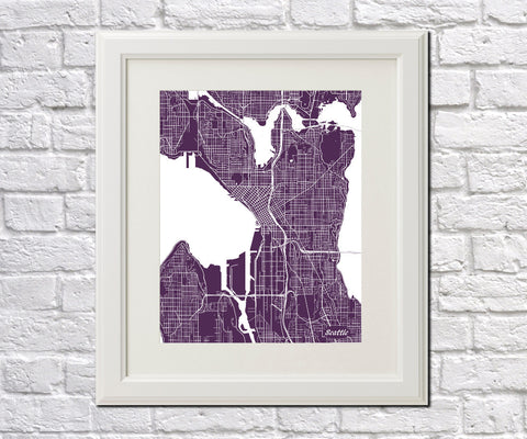Seattle City Street Map Print Feature Wall Art Poster