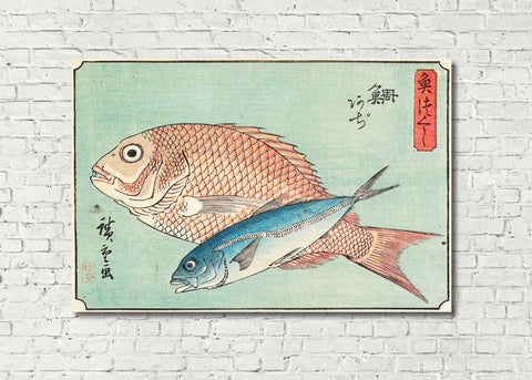 Fish Print Snapper Horse Mackerel Andō Hiroshige, Japanese Art