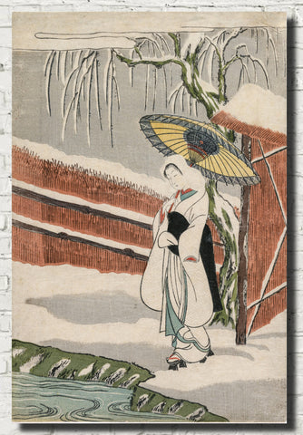 Suzuki Harunobu, Japanese Art Print : Heron Maiden under a Willow Tree