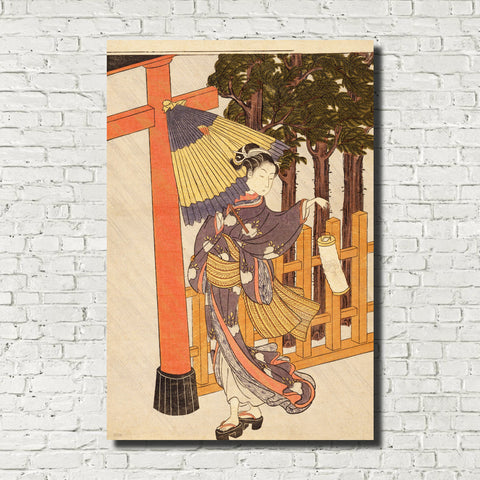 Suzuki Harunobu, Japanese Art Print : Visiting the Shrine