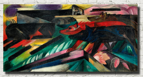Franz Marc Abstract Fine Art Print, The Wolves (Balkan War)
