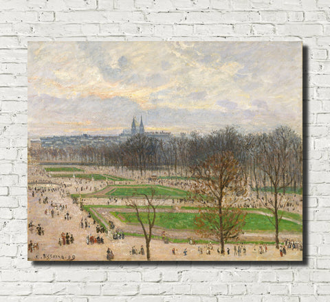 Camille Pissarro Fine Art Print Garden of the Tuileries Winter Afternoon Impressionist Painting