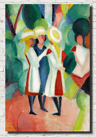 August Macke Abstract Fine Art Print, Three girls in yellow straw hats I
