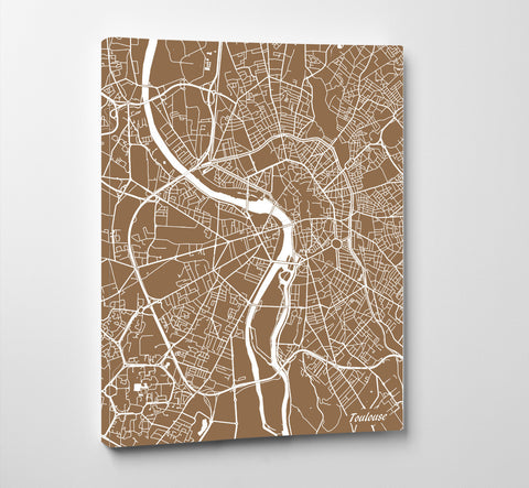Toulouse City Street Map Print Feature Wall Art Poster