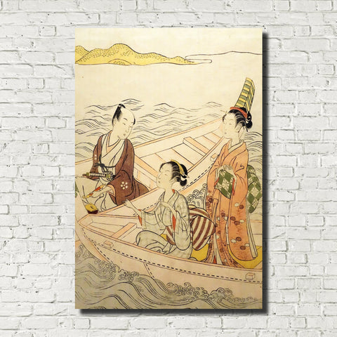 Suzuki Harunobu, Japanese Art Print : Two Beauties and a Man in Boat