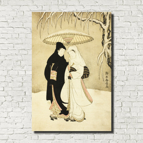 Suzuki Harunobu, Japanese Art Print : Two Lovers Beneath Umbrella in Snow