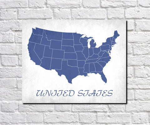 United States Map Print Outline Wall Map