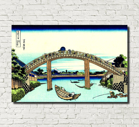 Katsushika Hokusai, 36 Views Mount Fuji, Under Mannen Bridge
