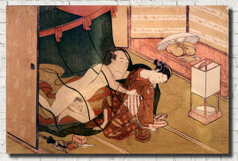 Suzuki Harunobu, Japanese Shunga Art Print : Under the Mosquito Net